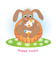 rabbit and egg vector image vector image