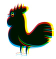 Rooster Abstract RGB Digital Psychedelic vector image vector image
