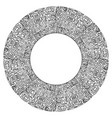 round frame with black and white tribal doodle vector image vector image