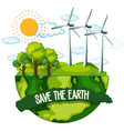 save earth poster vector image vector image