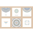 set six cards with ethnic design vector image