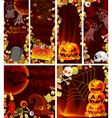 Six Halloween card set vector image vector image