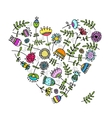 Sketch of floral heart for your design vector image vector image