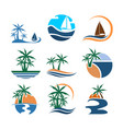 summer beach set graphic design vector image