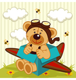 teddy bear made plane vector image