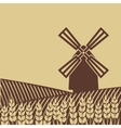 windmill in wheat field vector image vector image