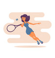 youthful pretty girl playing tennis cute young vector image
