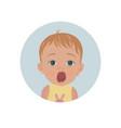 cute shocked baby emoticon scared child emoji vector image