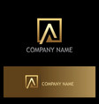 gold square letter a triangle logo vector image