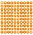 100 data exchange icons set orange vector image vector image