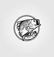 bass fish circle logo vintage template design vector image vector image