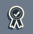 black approved or certified medal with ribbons and vector image vector image