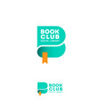 book club logo digital library emblem green vector image vector image