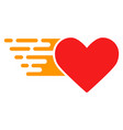 bright love heart with fast speed effect vector image