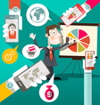 Businessman with Graph and Cell Phones in Hands vector image vector image