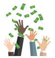 bussiness hands catch falling money vector image vector image