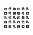 calendar solid icon set vector image vector image