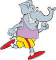Cartoon elephant running vector image vector image