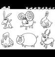 cartoon farm animals collection color book vector image vector image