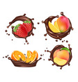 chocolate splashes with fruits and berries vector image vector image