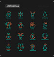 christmas thin line icons set santa claus vector image vector image