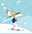 couple practicing skiing on ice avatar character vector image vector image