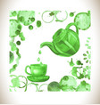 cup of fresh green tea with tea stai vector image vector image