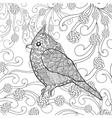 Cute bird in fantasy flower garden vector image vector image