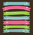 cute ribbons banners with flower vector image vector image