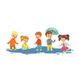 cute smiling little boys and girls jumping and vector image vector image