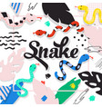 cute snakes design childish background abstract vector image