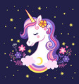 cute unicorn on a purple background with stars and vector image vector image