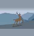 deer running in the mountains vector image vector image