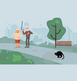 elderly people characters scared black cat vector image