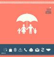 family under umbrella - family protect icon vector image