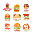 fast food logos set burger cupcake pizza vector image