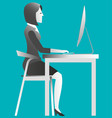 female working on computer at the office vector image