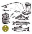 Fishing Sketch Set vector image vector image