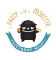 Funny Cute Little Black Monster Birthday Party vector image vector image