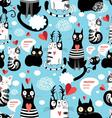 Graphic seamless pattern with hearts in love cats vector image vector image