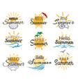 hello summer logo set vector image vector image