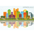 Honolulu Skyline with Color Buildings vector image vector image