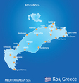 Island of Kos in Greece map vector image vector image