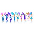 isometry a large set of adolescent girls generat vector image vector image