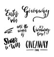 its giveaway time lettering text set typography vector image