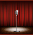 metal chrome retro microphone on a stand scene vector image