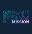 mission colorful banner in outline style vector image vector image