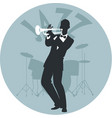 musical style jazz silhouette of trumpeter and vector image
