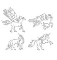 mythical horses in contours vector image vector image