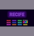 neon name of recife city vector image vector image